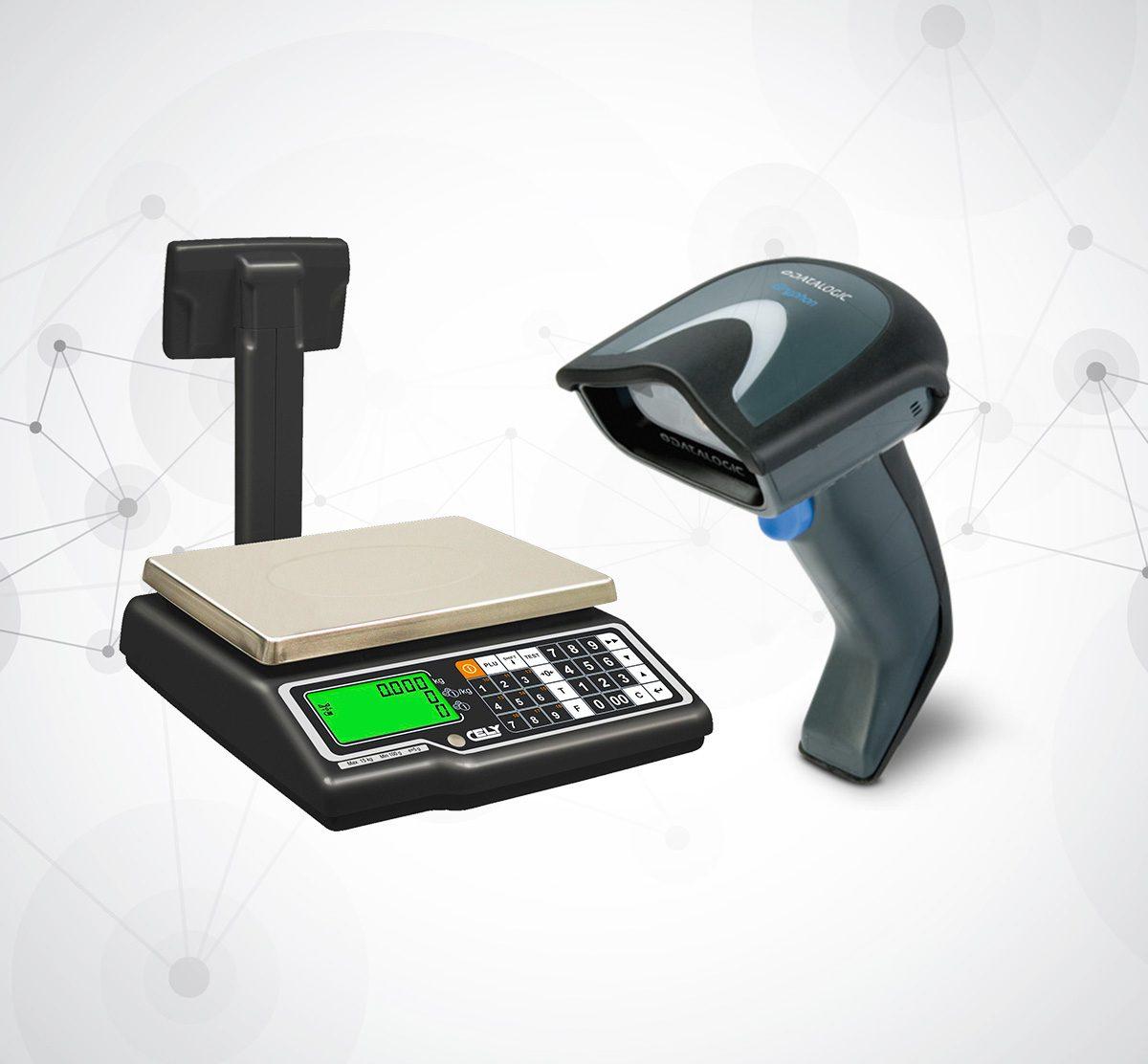 Waga elektroniczna marki Dibal i skaner kodów marki Datalogic
